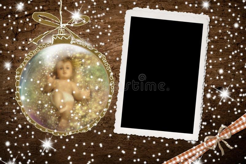 Bebê Jesus e quadro vazio fotos de stock royalty free