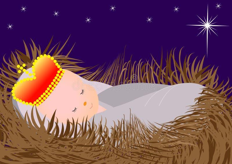 Bebê Jesus no comedoiro ilustração royalty free