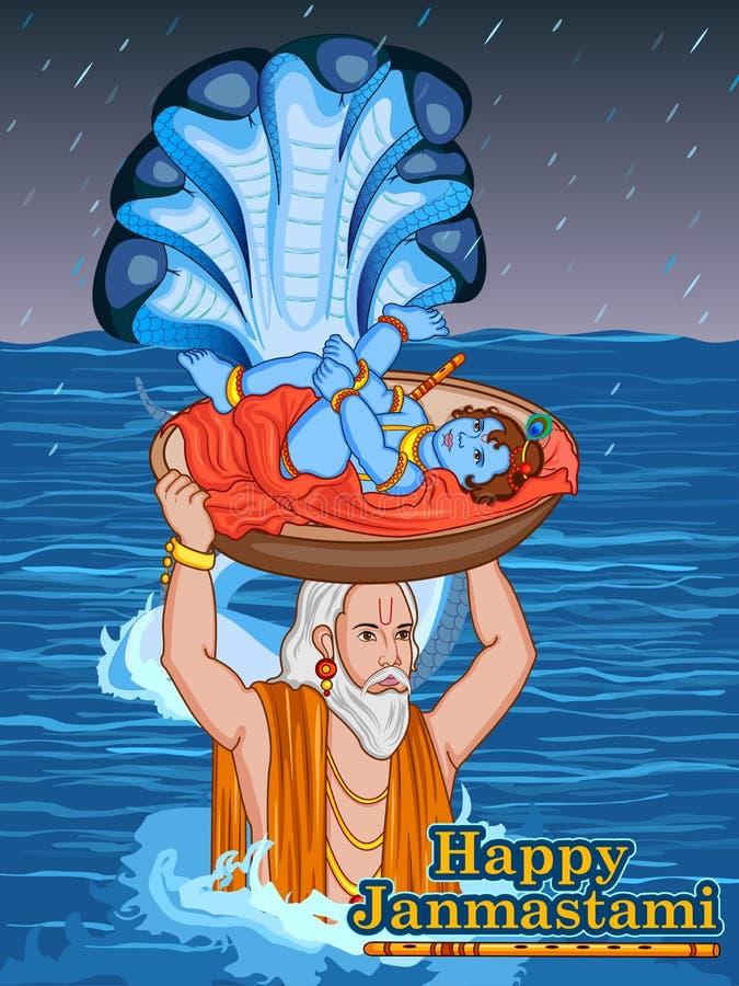 Bebê Krishna do cruzamento do Nand no fundo feliz de Janmashtami ilustração do vetor