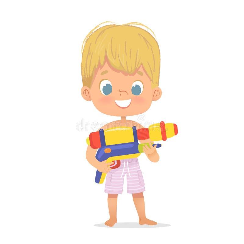 Bebê louro bonito de sorriso com Toy Water Gun Posing Caráter da festa na piscina com um Toygun Caráter do menino da praia ilustração royalty free
