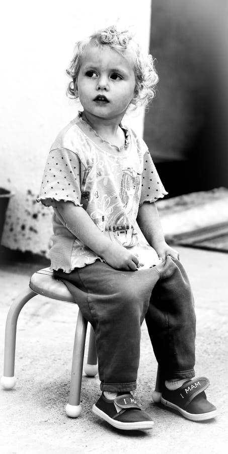 Bebê louro preto e branco imagens de stock royalty free