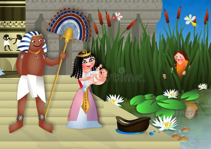 Bebê Moses e princesa egípcia ilustração do vetor