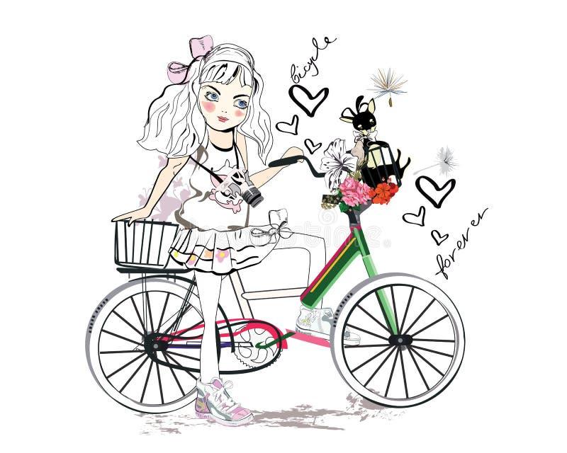 Bebê na bicicleta ilustração do vetor