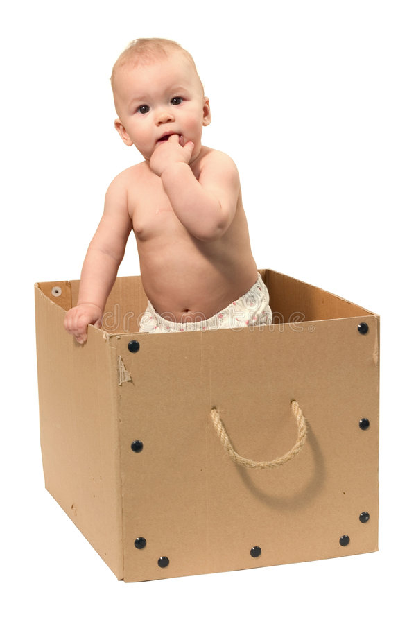 Bebê na caixa imagem de stock