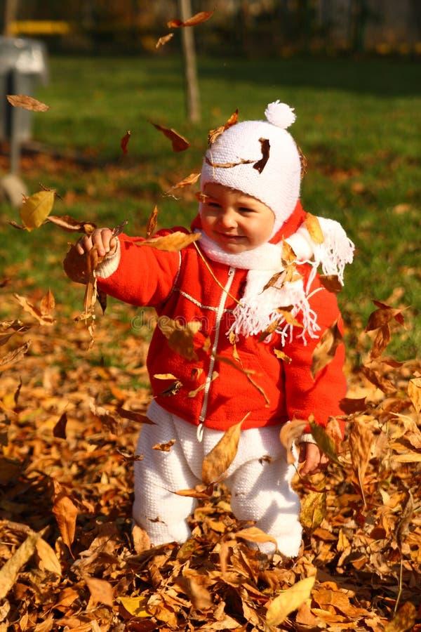 Bebê nas folhas de outono imagens de stock royalty free