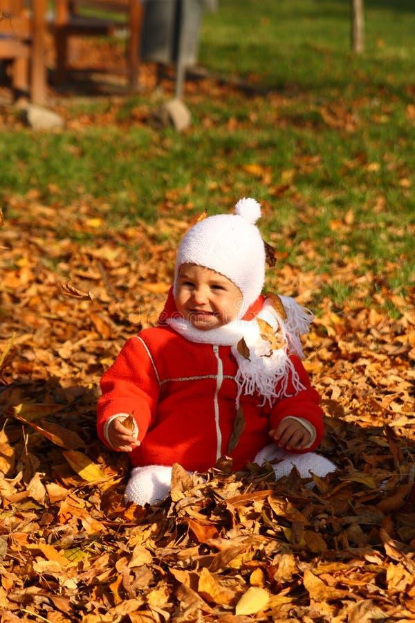 Bebê nas folhas de outono foto de stock