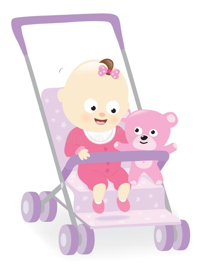 Bebê no carrinho de criança com urso de peluche ilustração stock