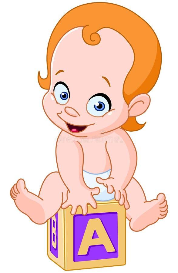 Bebê no cubo do alfabeto ilustração do vetor