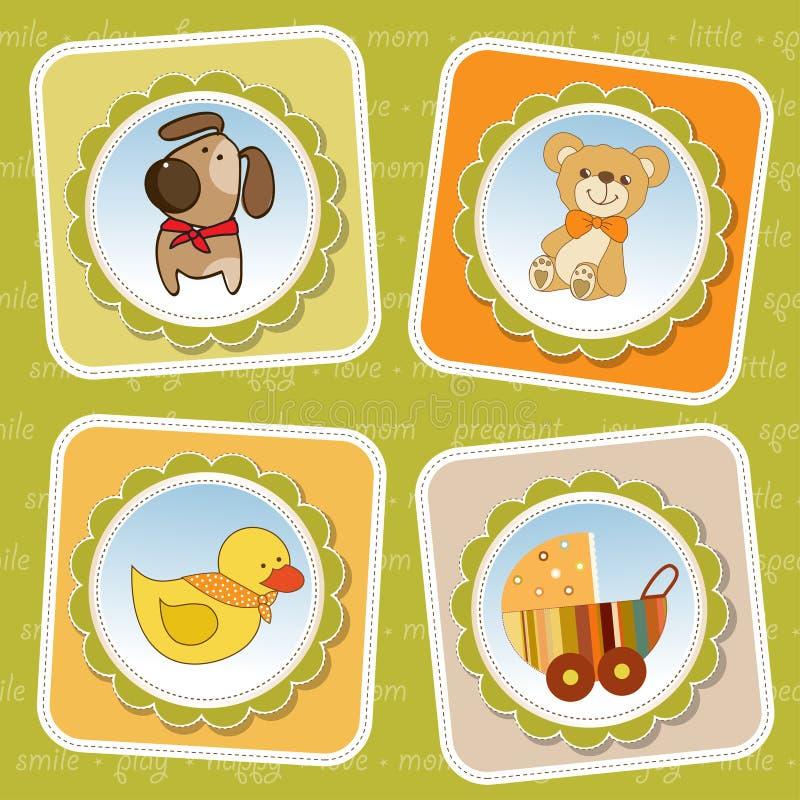 Bebê novo cartão carregado do anúncio ilustração royalty free