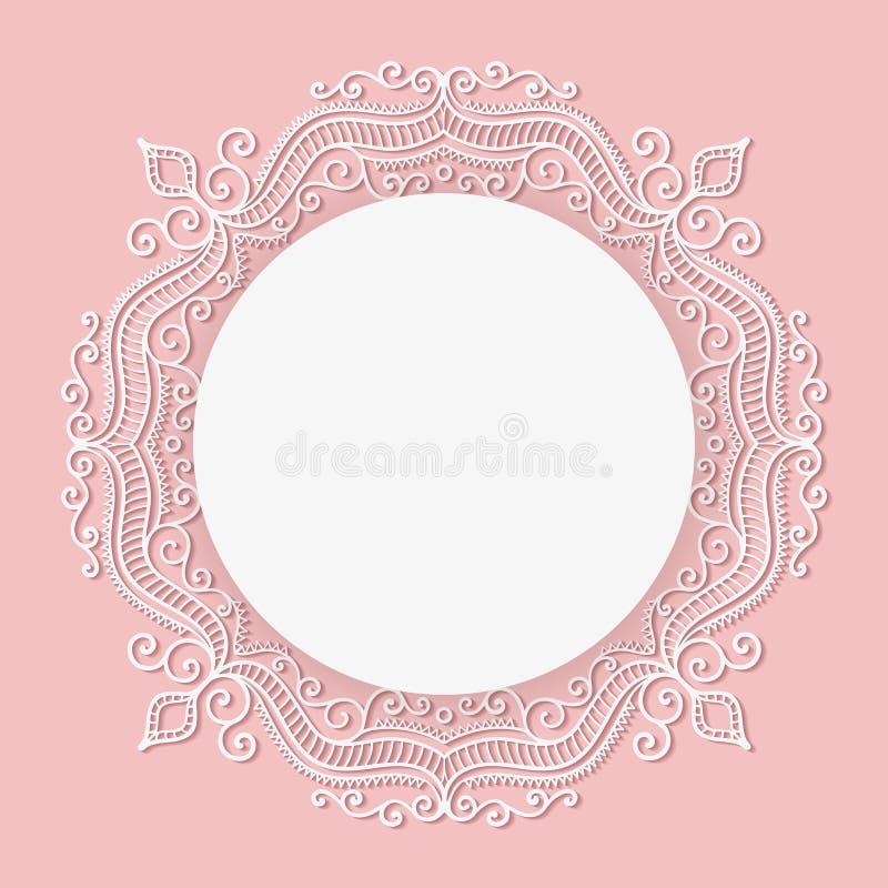 Bebê novo cartão carregado Quadro do laço do círculo do vetor ilustração royalty free