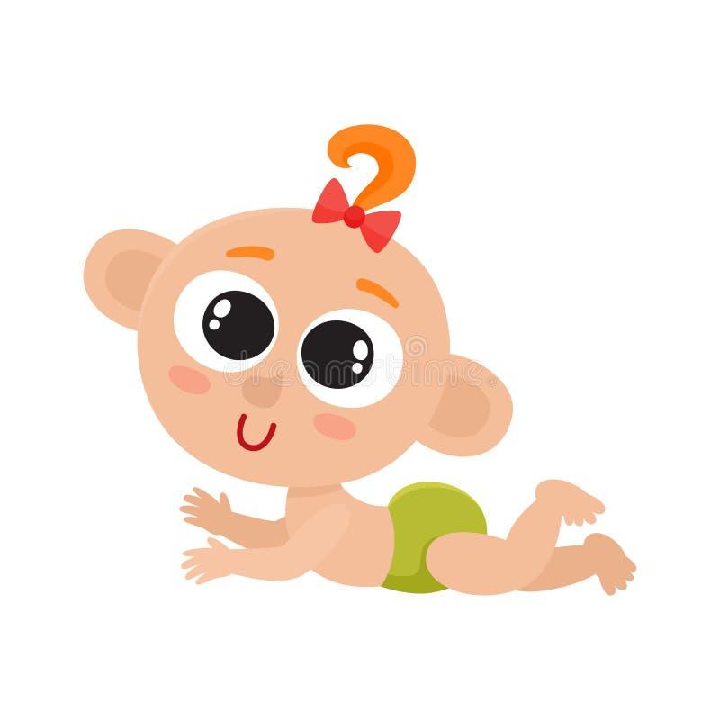 Bebê pequeno bonito com a curva vermelha isolada no branco ilustração royalty free