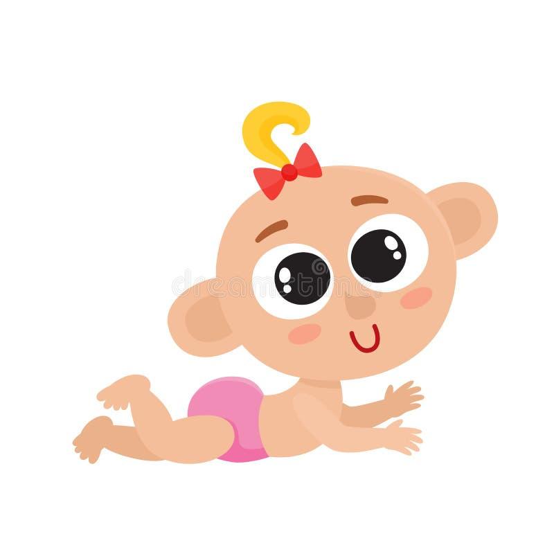 Bebê pequeno bonito com a curva vermelha isolada no branco ilustração stock