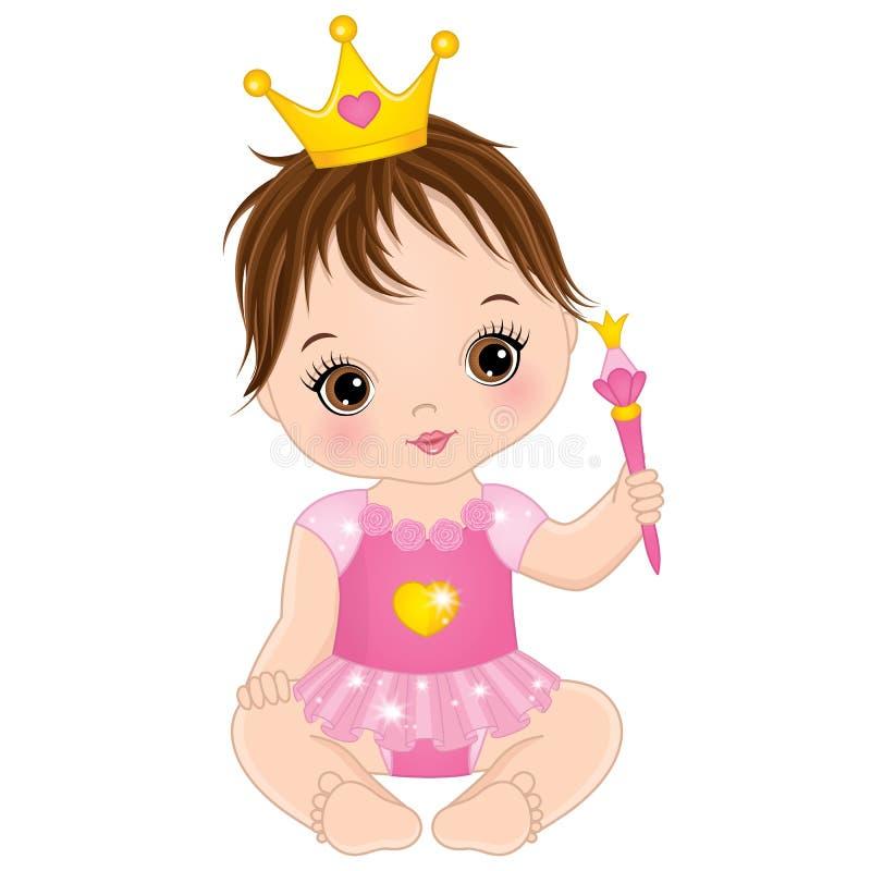 Bebê pequeno bonito do vetor vestido como a princesa ilustração do vetor
