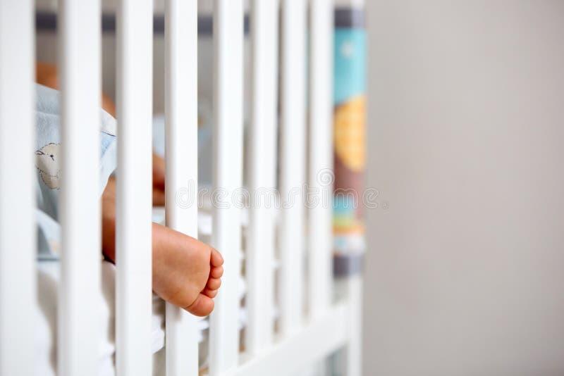 Bebê pequeno bonito, dormindo com a garrafa com leite da fórmula fotos de stock royalty free