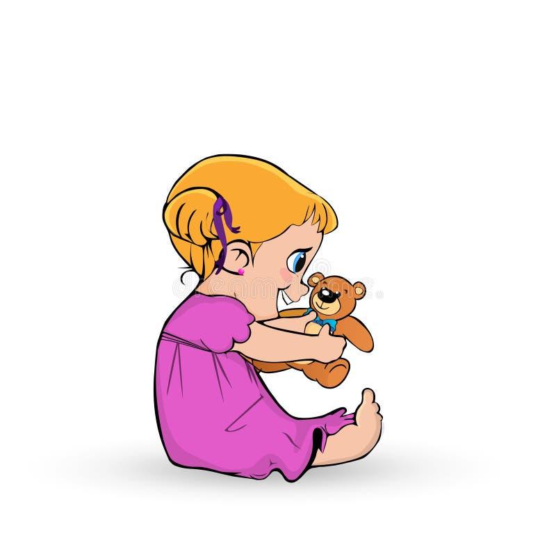 Bebê pequeno bonito no vestido cor-de-rosa que joga com o urso de peluche no branco ilustração do vetor