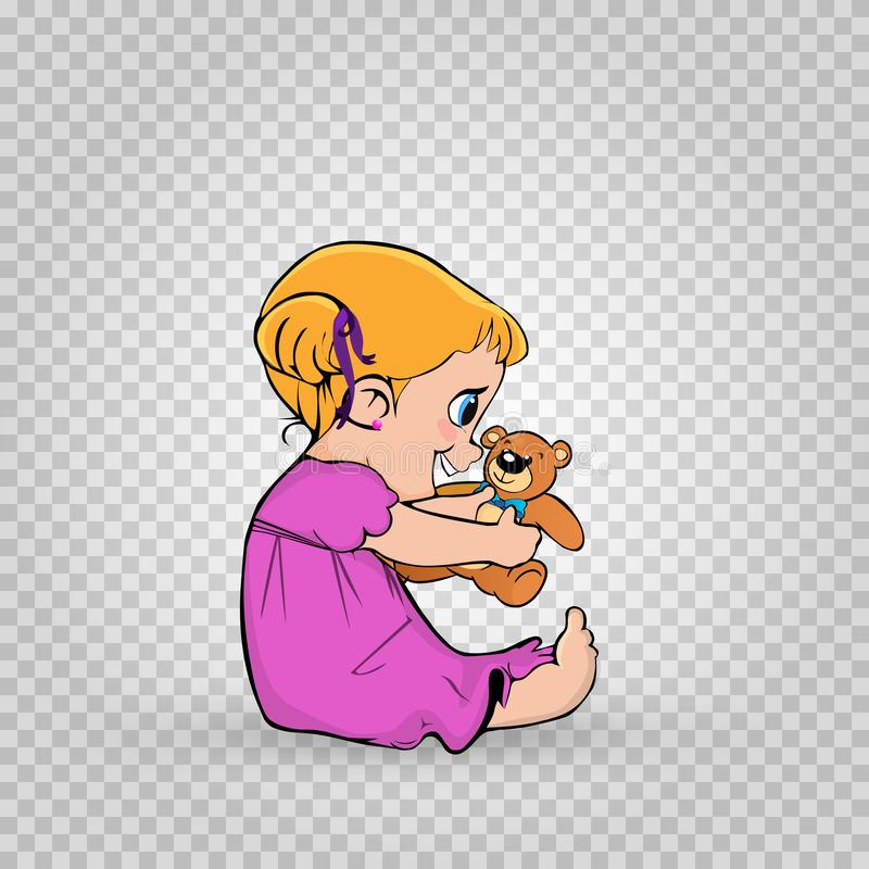 Bebê pequeno bonito no vestido cor-de-rosa que joga com o urso de peluche isolado ilustração do vetor
