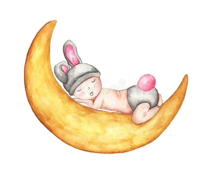 Bebê pequeno bonito que dorme na lua Bunny Isolated bonito de sono no fundo branco ilustração royalty free