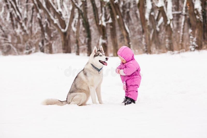 Bebê pequeno com cão ronco imagens de stock