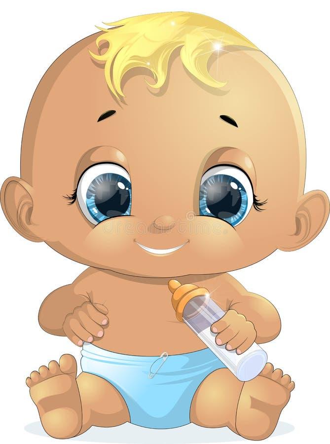 Bebê pequeno com uma garrafa ilustração do vetor