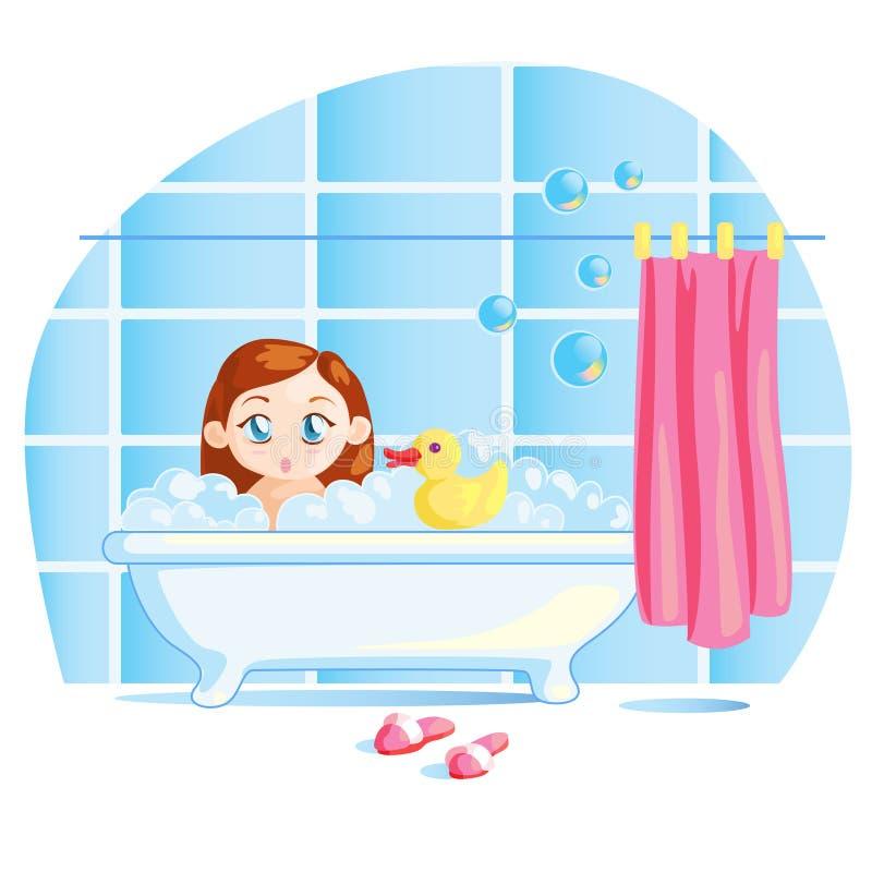 Bebê pequeno engraçado que toma um banho fotografia de stock