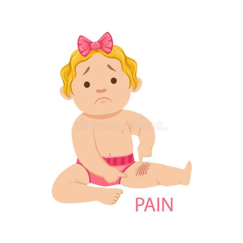 Bebê pequeno na fralda que tem a dor de um risco, parte das razões do infante que é desenhos animados infelizes e gritando ilustração stock