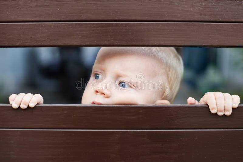 Bebê pequeno que olha para fora através da cerca fotografia de stock