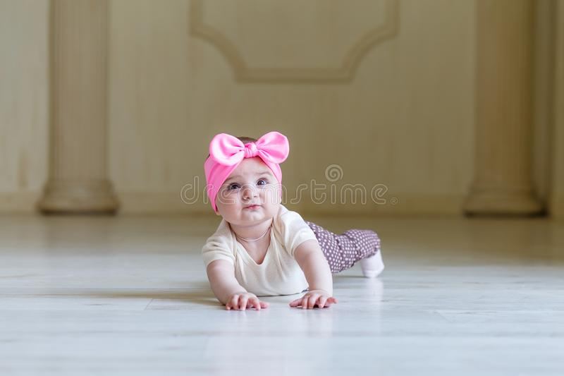 Bebê pequeno surpreendido no assoalho no interior da casa ou do estúdio 6 meses bonitos bonitos da menina com uma curva cor-de-ro fotografia de stock