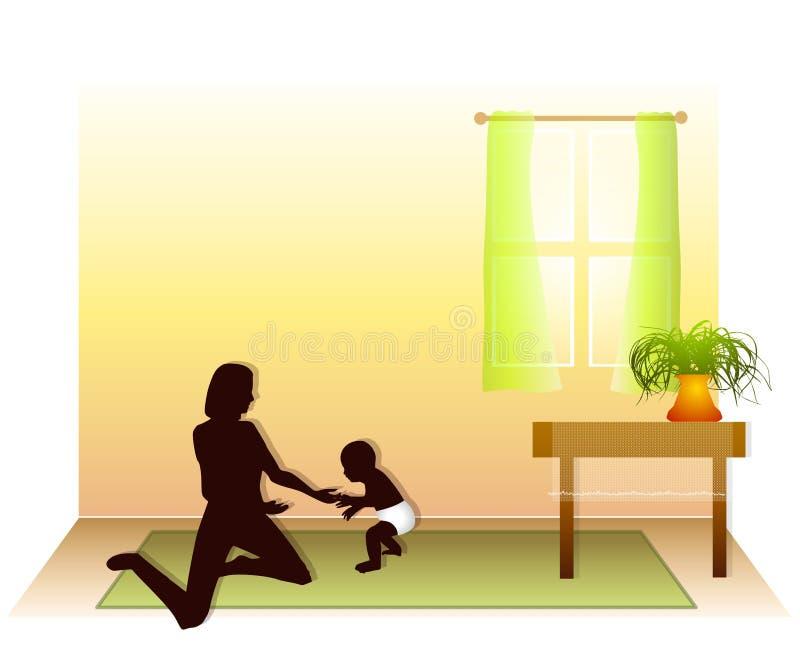 Bebê que aprende andar na casa ilustração stock