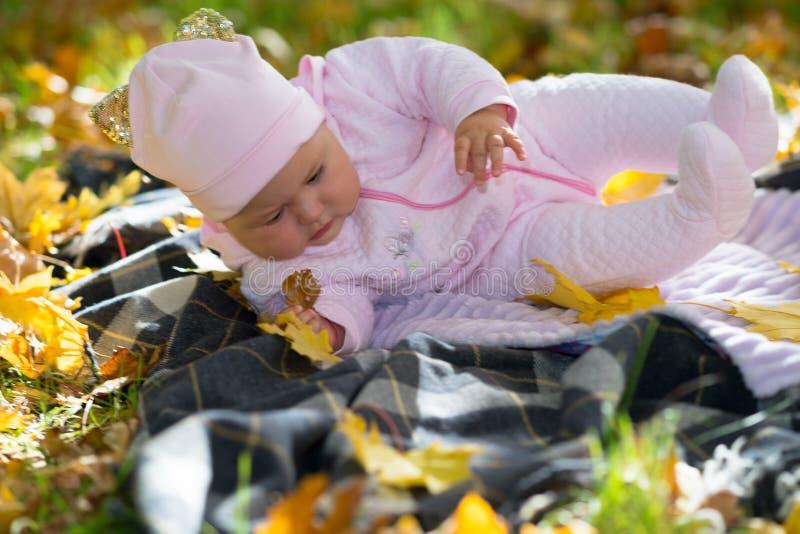 Bebê que cai sobre como trava as folhas foto de stock
