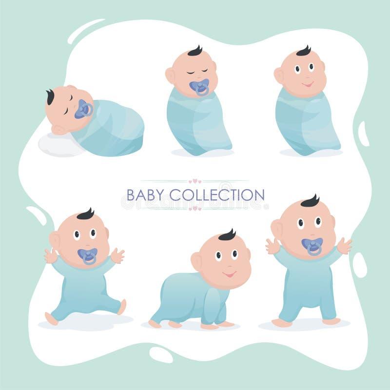Bebê que cresce acima a coleção com ilustração bonita ilustração do vetor