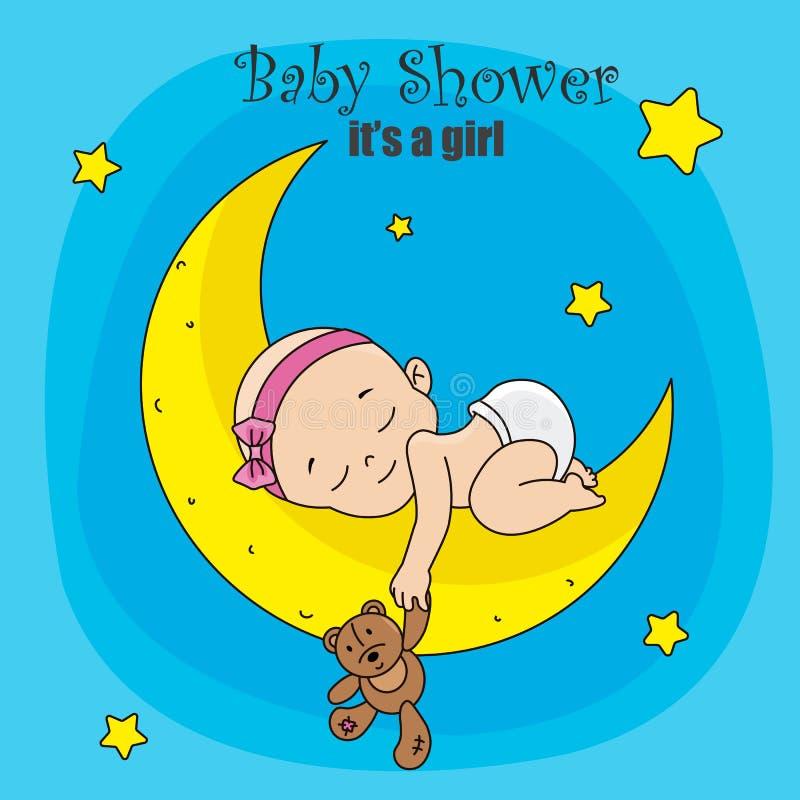 Bebê que dorme na lua com urso de peluche ilustração do vetor