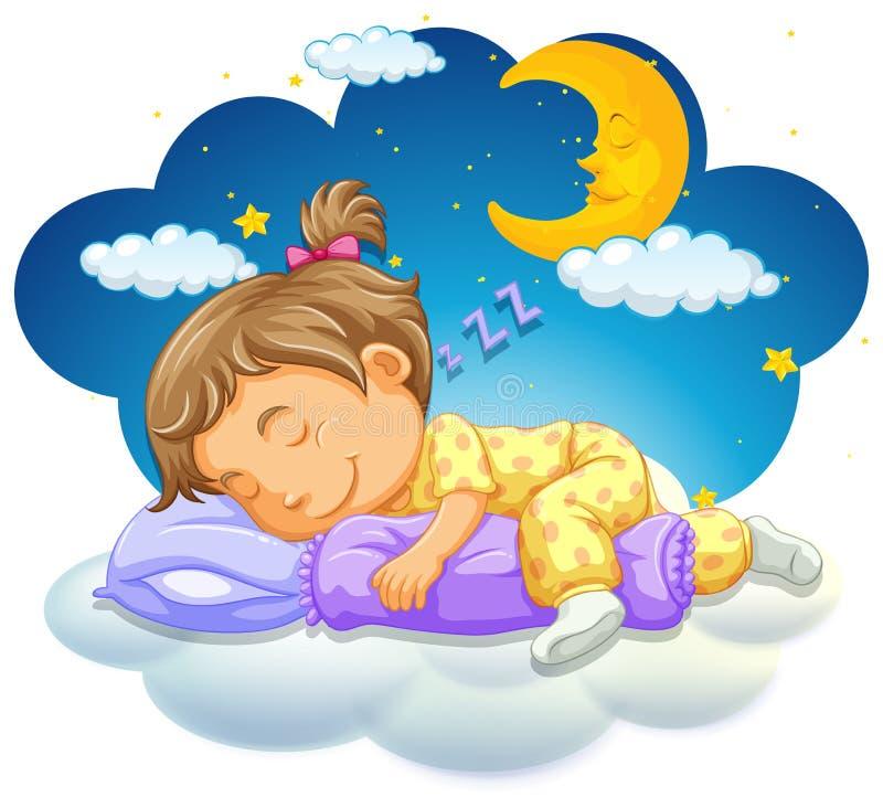 Bebê que dorme na noite ilustração royalty free