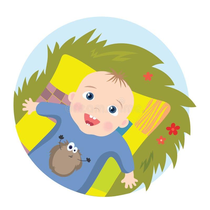 Bebê que encontra-se no cobertor ilustração stock