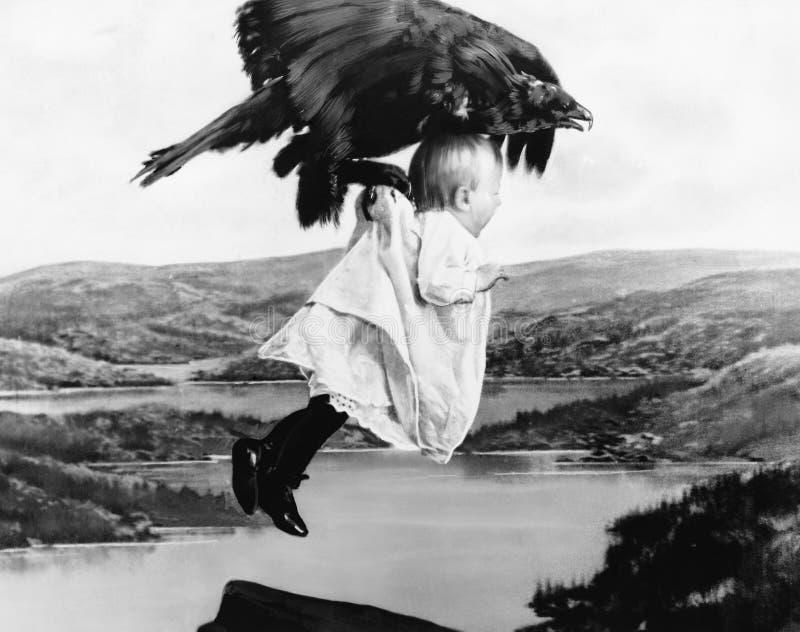 Bebê que está sendo sequestrado por um abutre (todas as pessoas descritas não são umas vivas mais longo e nenhuma propriedade exi imagem de stock