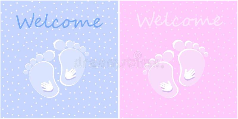 Bebê recém-nascido bem-vindo ilustração royalty free
