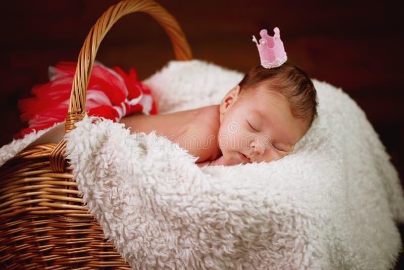 Bebê recém-nascido bonito na cesta imagens de stock royalty free