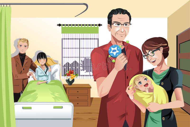 Bebê recém-nascido com família ilustração stock