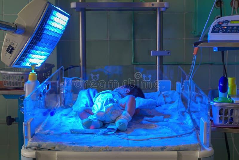 Bebê recém-nascido com hyperbilirubinemia sob a luz UV azul para o phototheraphy imagem de stock royalty free