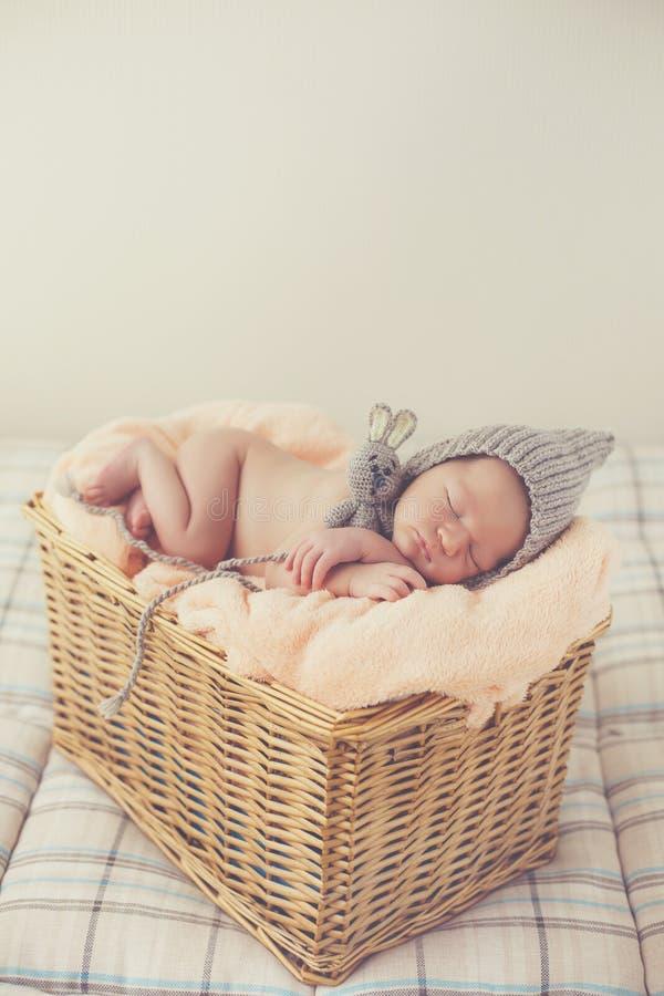 Bebê recém-nascido do sonho doce em uma cesta grande imagem de stock