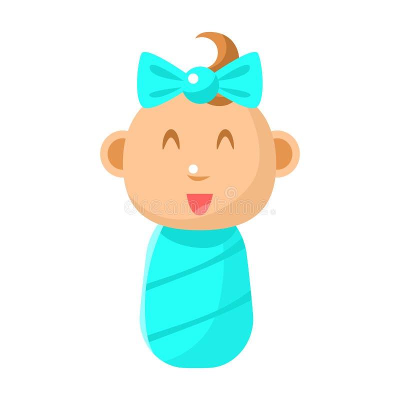 Bebê recém-nascido feliz pequeno envolvido em ilustrações simples do vetor azul do tecido com infante bonito ilustração royalty free