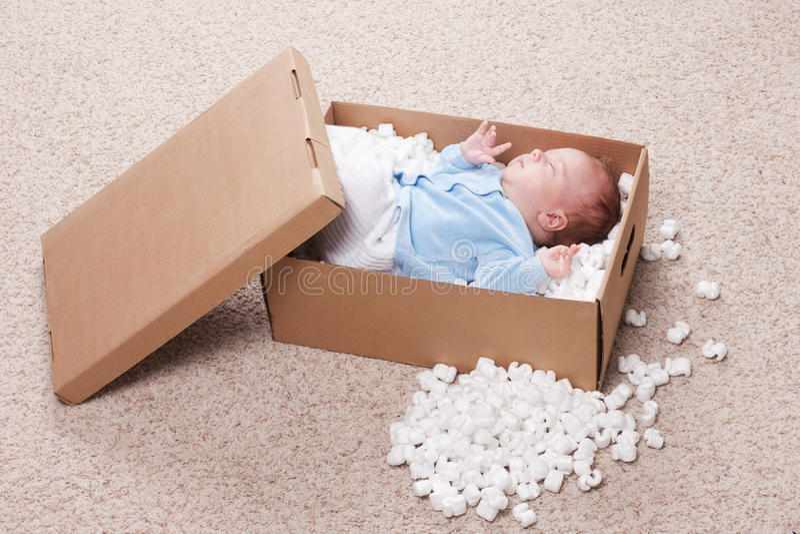 Bebê recém-nascido na caixa aberta do borne fotografia de stock