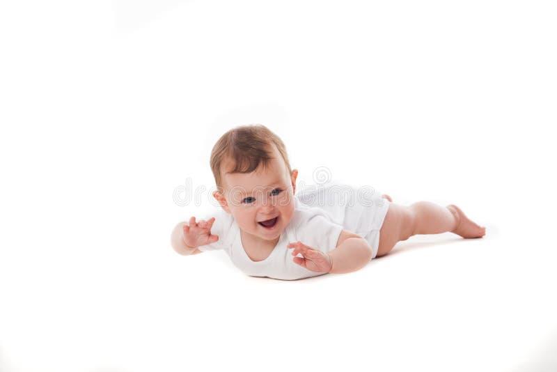Bebê recém-nascido no branco fotos de stock royalty free