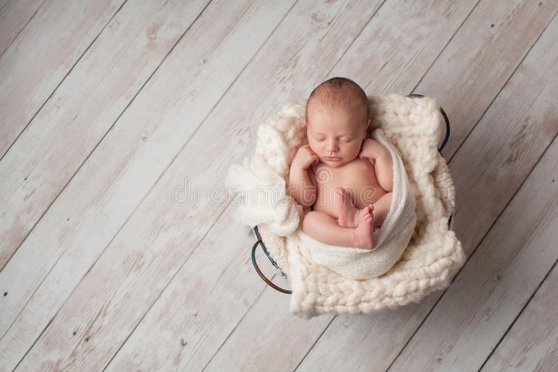 Bebê recém-nascido que dorme em uma cesta de fio