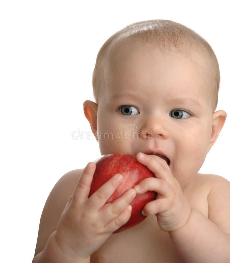 Bebê saudável com Apple vermelho fotos de stock