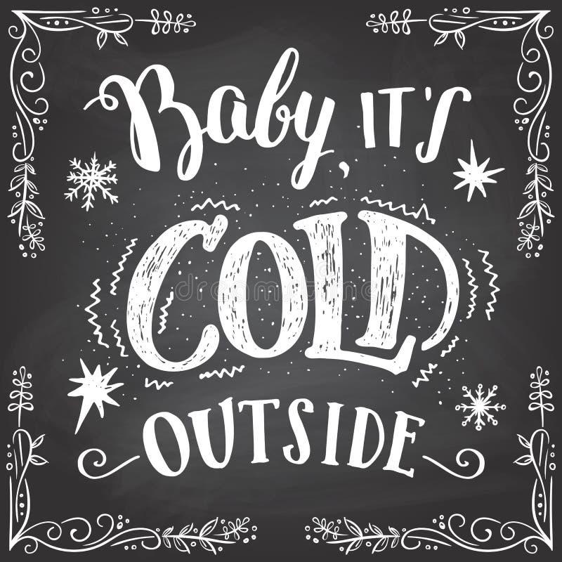 Bebê seu sinal exterior frio da mão-rotulação ilustração stock
