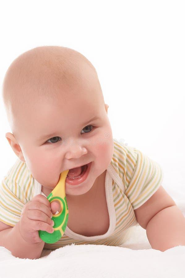 Bebê toothbrooshing5 foto de stock
