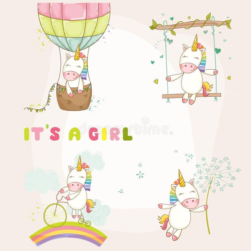 Bebê Unicorn Set - festa do bebê ou cartão de chegada ilustração stock