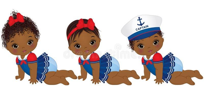 Bebês afro-americanos bonitos do vetor vestidos no estilo náutico ilustração stock