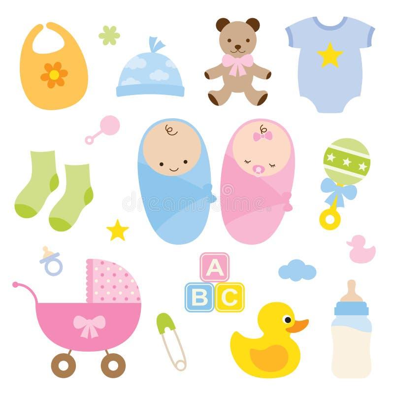 Bebês e produtos do bebê. ilustração stock