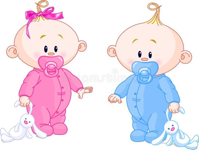 Bebês gêmeos ilustração royalty free